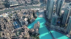 Top view on Dubai from glass window on 124th floor of Burj Khalifa skyscraper Stock Footage