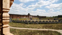 Castle in Kyivan Rus park, Kopachiv village Stock Footage