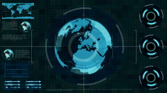 Futuristic secret agent Technology Interface Computer scanning earth Stock Footage