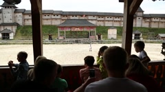 People at cultural and entertainment event in Kyivan Rus park, Kopachiv village Stock Footage