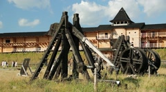 Old wooden catapults in Kyivan Rus park, Kopachiv village Stock Footage