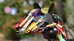 Sculpture of horse, made of tableware Stock Footage
