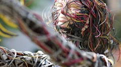 Sculpture of woman, made of electric wires and electronic devices Stock Footage