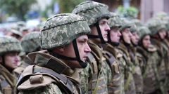 Soldiers in green uniform at the military parade in Kiev, Ukraine Stock Footage