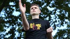 Demonstrations of martial arts at martial arts festival in Feofania park in Kiev Stock Footage