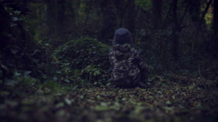 4k Outdoor Woods  Shot of a Child Lost in the Forest Stock Footage