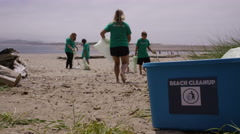 Group of volunteers cleaning up beach Stock Footage