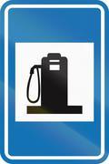 Belgian informational road sign - Petrol station Stock Illustration
