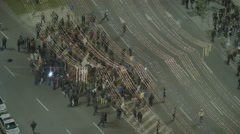 People gathering for Protest In University Square in Romania Stock Footage