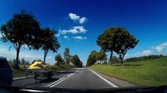 Dash Cam Local Road Good Weather Conditions Driving POV, Poland Europe Stock Footage