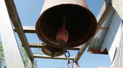 Ancient Bells in outdoor temple Stock Footage