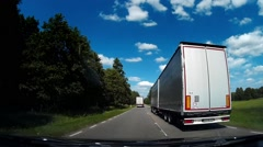 Dash Cam Overtaking Truck On Local Road Driving POV, Poland Europe Stock Footage