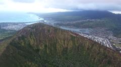 Over Hawaii Volcano Crater Rim Towards City Stock Footage