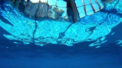 Resurfacing On Swimming Pool With Scenic Windows View Stock Footage
