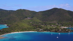 Aerial panning video of Caneel Bay and the North Shore of St John Stock Footage
