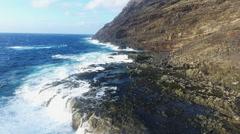 Rugged Hawaii Coastline With Gigantic Wave Stock Footage
