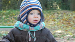Beautiful baby is playing in autumn park. The boy stares at one place. The child Stock Footage