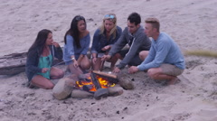 Group of friends at beach hanging out by campfire and roasting marshmallows Stock Footage