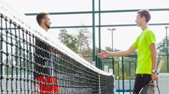 Tennis players finished the match and congratulated each other Stock Footage