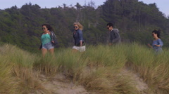 Group of friends at beach running down grassy trail Stock Footage