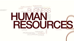 Human resources animated word cloud Stock Footage