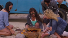 Group of friends at beach starting campfire Stock Footage