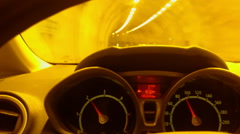 Man driving a car in tonnel, view from cabin Stock Footage
