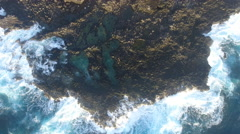 Satellite View Rugged Hawaii Coastline With Large Waves Stock Footage
