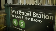 Wall Street Subway Station Entrance in manhattan New York Stock Footage