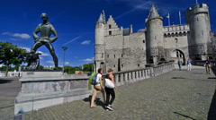 Het Steen, medieval fortress and the statue De Lange Wapper Stock Footage