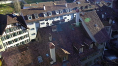 Spring morning in small European town, view on tile roofs, good weather Stock Footage