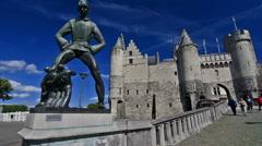 Het Steen, medieval fortress and the statue De Lange Wapper, Antwerp Stock Footage