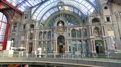 Interior of Antwerp train station Stock Footage