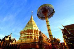 Golden stupa at Wat Phra That Doi Suthep, tourist attraction and popular hist Stock Photos