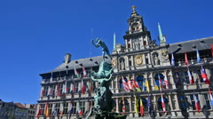 Bravo statue in the center of Antwerp Stock Footage