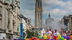 People marching in the Gay Pride. Cathedral of Our Lady on the background. Stock Footage
