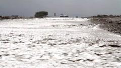 Cars Stuck near Flash flood in the Desert Stock Footage