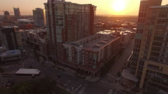 Rising Past Downtown Nashville Condos at Sunrise Stock Footage