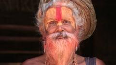 Portrait of Shaiva sadhu, holy man in Pashupatinath Temple . Kathmandu, Nepal Stock Footage