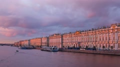 Hermitage on background of clouds during sunset in Saint Petersburg Stock Footage