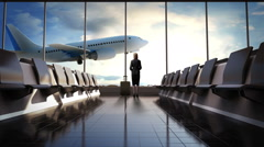 Businesswoman in flight waiting hall. Departure airplane in blue sky. Stock Footage
