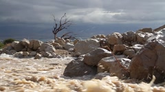 Flash flood Dead Sea and Judean Desert Stock Footage