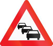 Warning road sign used in Denmark - Traffic queues likely Stock Illustration