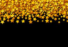 Golden stars glitter scattered on black in celebration card Stock Illustration