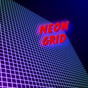 Bright neon grid lines glowing background with 80s style Piirros