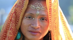 Portrait shemale Sirena Sabiha dancing at sunrise in Pokhara, Nepal. Close up Stock Footage
