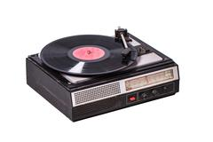 Vintage record player with radio tuner Stock Photos