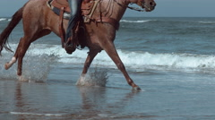 Super slow motion shof of women riding horses at beach, Oregon, shot on Phantom Stock Footage