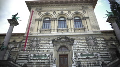 Panorama of Palais de Rumine, old building with library and museum in Lausanne Stock Footage