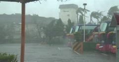 Hurricane Wind And Rain Lash Down As Storm Makes Landfall Stock Footage